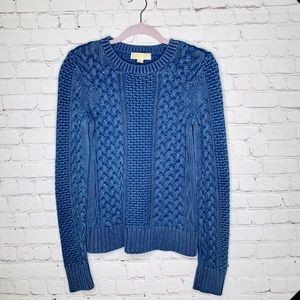 Michael Kors Distressed Cotton Cable Knit Sweater